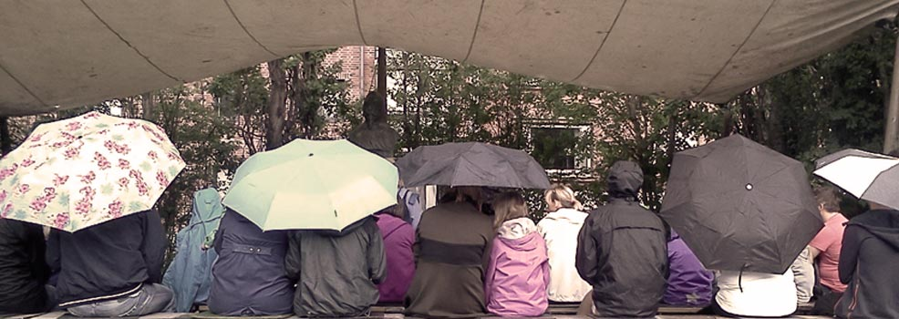 Paraplyer i parken